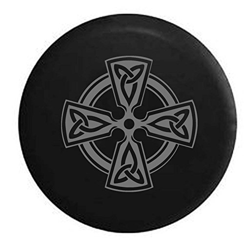 Pike Stealth - Celtic Cross Knot Irish Shield Warrior Trailer RV Spare Tire Cover OEM Vinyl Black 27.5 in by Pike Outdoors