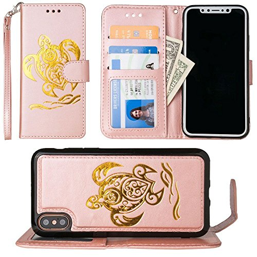 iPhone X Wallet Case, iPhone Xs Case, Slim PU Leather Embossed Design with Matching Detachable Flip Cover with Credit Card Holder Wristlet for Women [Sea Turtle - Rose Gold/Gold] (Pu Leather Design Slim)