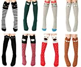 Happy Cherry Kids Girls Cute Cartoon Cotton Knee High Socks Stockings 8 Pack 3-12Y