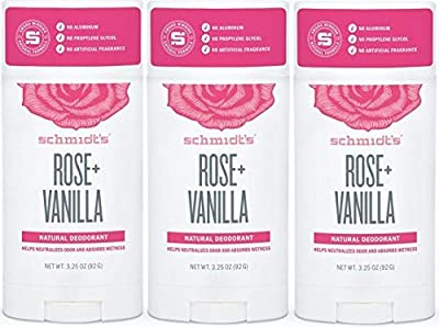 Natural Deodorant, No Aluminum. No Artificial Fragrance, Certified Vegan and Cruelty Free (Rose- Vanilla, 3 Pack)