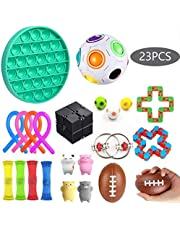 Sensory Fidget Toys Set 23 Pack - Stress Relief for Kids Student Adults, Stress Balls/Soy Squeeze/Flippy Chain/Bungee Cords for Calming Toys for Autism Anxiety