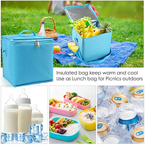 LotFancy Breastmilk Cooler, Insulated Lunch Bag, Reusable Baby Bottle Bag for up to 6 Large 8oz. Bottles, Freezable Cool Tote Bag for Picnic Work School Travel Beach
