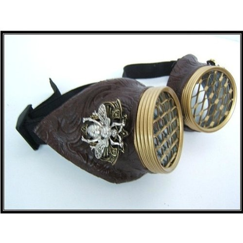 Steampunk Goggles - Large Bee Siding - Honeycomb - Brass caps