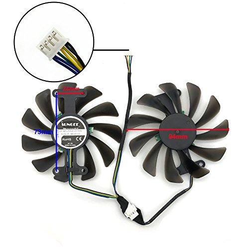 2pcs/lot GF10012H12SPA 0.5A video cards cooler GTX1080 GPU fan For zotac GeForce GTX 1080 AMP Graphics Card GPU cooling by Z.N.Z (Image #4)