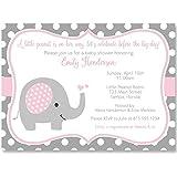 Elephant, Baby Shower Invitations, Sprinkle, Girls, Pink, Gray, Polka Dots, 10 Printed Invites with White Envelopes,, Custom …
