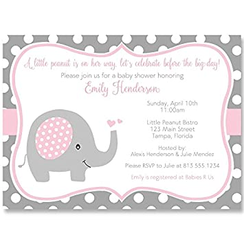 Elephant, Baby Shower Invitations, Sprinkle, Girls, Pink, Gray, Polka Dots