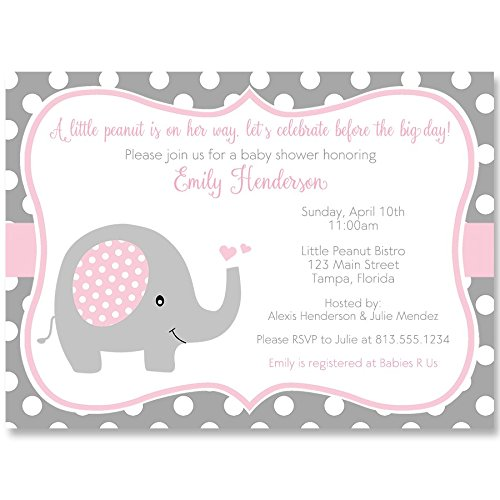 Elephant, Baby Shower Invitations, Sprinkle, Girls, Pink, Gray, Polka Dots, 10 Printed Invites with White Envelopes,, Custom … -