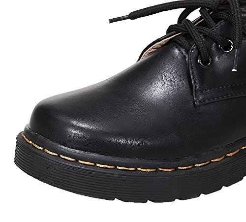 Amoonyfashion Kvinna Pu Rund Tå Låga-häl Snör Åt-upp Fasta Pumpar-shoes Svarta