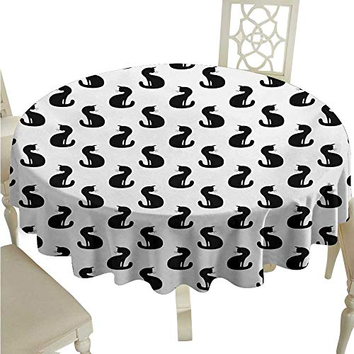 Willsd Polyester Tablecloth Cat Silhouette of a Kitten Monochrome Feline Pattern House Pet Illustration Halloween Party D54 Suitable for picnics,queuing,Family