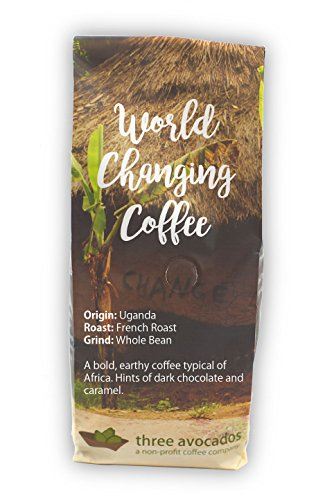 Three Avocados Uganda Bugisu Whole Bean Coffee - 12oz - 100% of Profits Provide Clean Water in Uganda