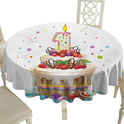 Curioly 1st Birthday Washable Tablecloth Baby First Party Festive Cake with Forest Fruits and Candlestick Image Print Dinner Picnic Home Decor D51.18 Inch - Mint Candlesticks