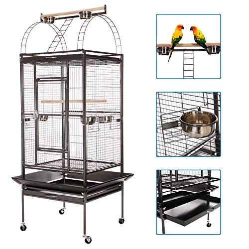 VECELA Bird Cage Play Top Parrot Cage 68 Inch Large Bird Cage with Unique Circular Staircase Birdcage for Parrot Large Pet House Black ()