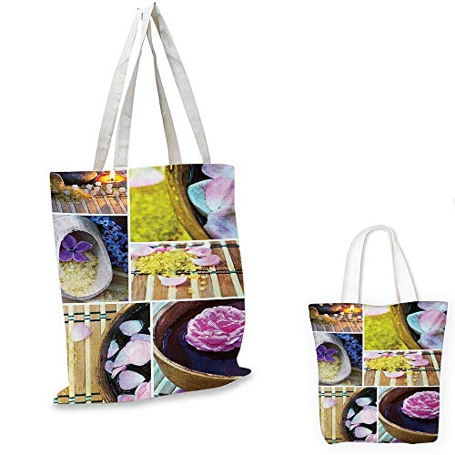 Spa Tote Organic (Spa shopping tote bag Spa Organic Cosmetics Theme Wooden Bowl Petals Lavender Candle Pebbles Therapy Oil travel shopping bag Purple Brown. 16
