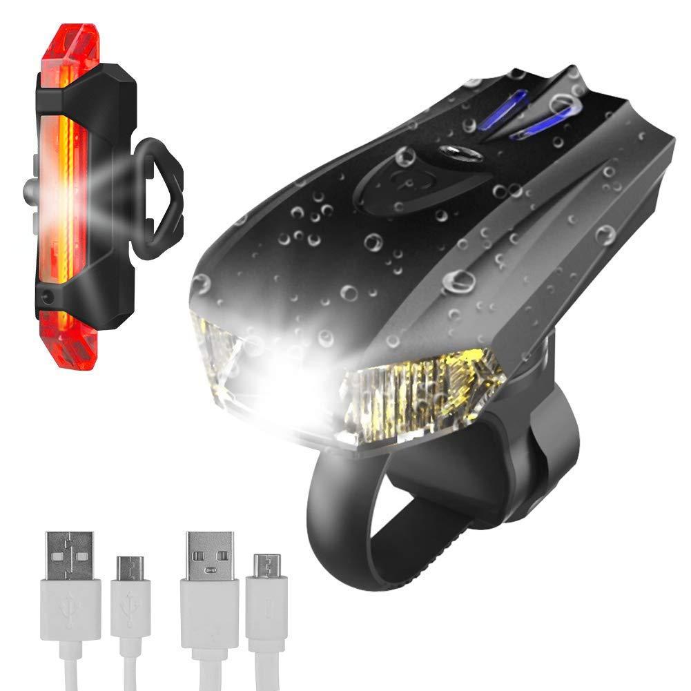 WINGLESCOUT Luces de Bicicleta LED USB, Super Brillante Impermeable Luces Bicicleta Delantera y Trasera con 400 LM, 5 Modos de Seguridad de luz de Ciclo para la Noche Cellstar EUP Co.Ltd