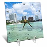 3dRose Danita Delimont - Cities - Guam Territory. Hotels line beach with clear tropical waters. - 6x6 Desk Clock (dc_278126_1)