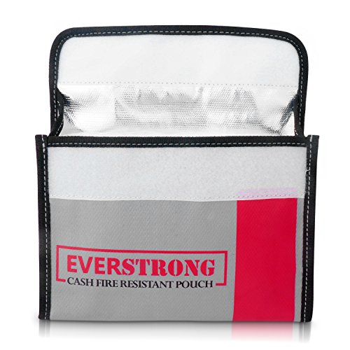 Fire Resistant Cash Box Document Bag 9 x 6 x 1.5 Heavy Duty Fiberglass - Retardant Thread - Fireproof Bag / Bank File / Important Document Holder - Retardant Envelope Heat Protection