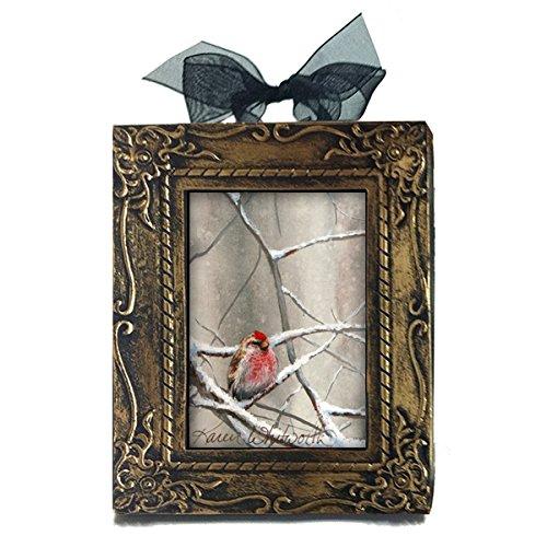 Handmade Antique Style Mini Eyeing The Feeder Alaskan Redpoll In Winter Art Desk or Tree Ornament by Karen Whitworth
