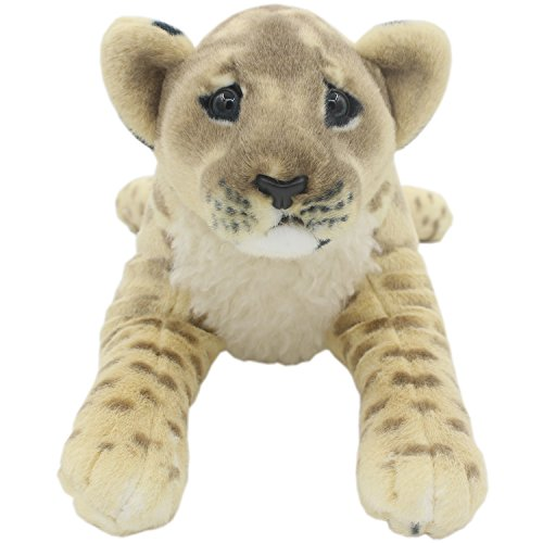TAGLN The Jungle Animals Stuffed Plush Toys Lion Tiger Leopard Panther Pillows (Brown Lioness, 16 Inch) -