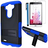 phone cases lg 3 vigor - LG G3 VIGOR Case Combo(3-items)-IFUMES Dual- Layer Hard/Gel Hybrid Kickstand Armor Case (Black/Blue)+ICE-CLEAR(TM) Screen Protector Shield(Ultra Clear)+Touch Screen Stylus