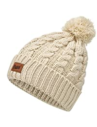 TRUE VISION Womens Beanie Hat - Warm Cable Knitted Toque Bobble Hat with 2 Poms