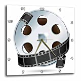 3dRose A Silver and black Movie Reel - Wall Clock, 13 by 13-Inch (dpp_159179_2)