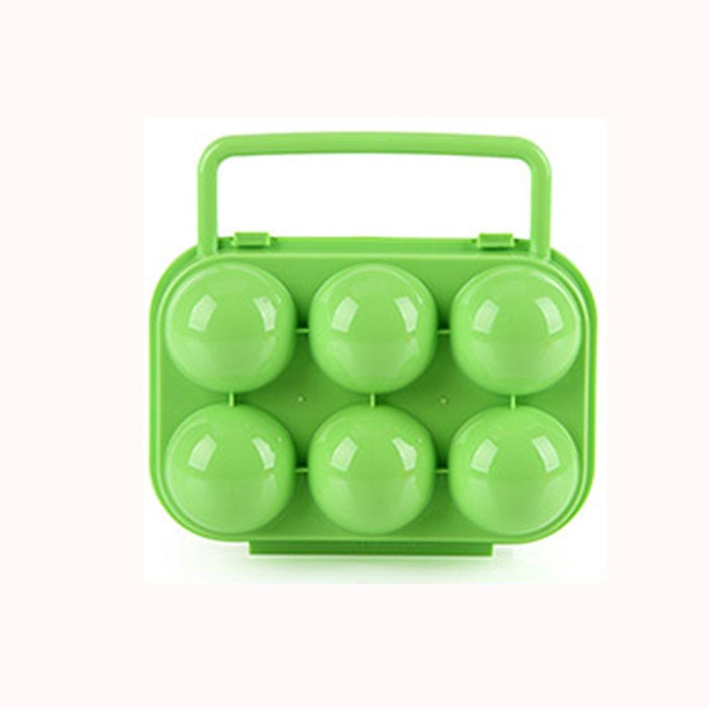 Oksale Portable 6 Eggs Plastic Container Holder Folding Egg Storage Box Handle Case (Green) by Oksale® (Image #2)