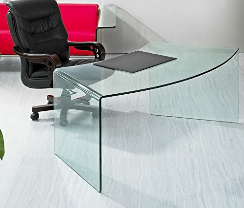 Fixed curved transparent glass desk model King - Living room, office, study