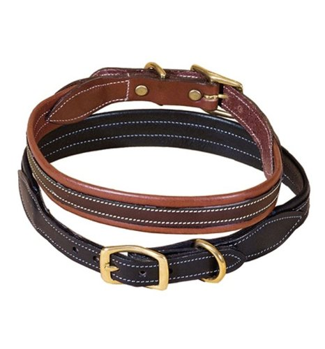Tory Leather Milled Dog Collar with Rolled Back Center Strip - Black, 24