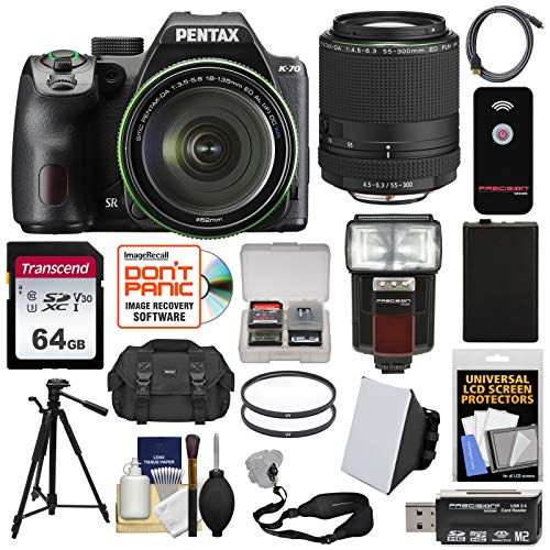 (Pentax K-70 All Weather Wi-Fi Digital SLR Camera & 18-135mm WR Lens (Black) with 55-300mm Lens + 64GB Card + Case + Flash + Battery + Tripod + Kit)
