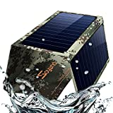 Foldable Solar Phone Charger Panel-Dual USB Solar Charger 22W Portable Waterproof Solar Power Charger for Camping & Outdoors Travel for iPhone X, 8 & 8 Plus, iPad Pro Air 2 mini, Galaxy(Camouflage)