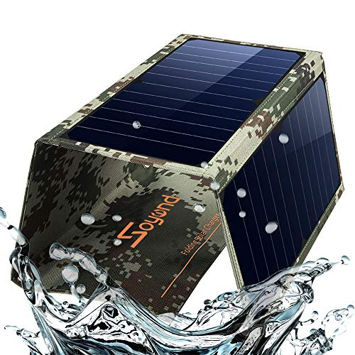 Charger Panel-Dual USB Solar Charger 22W Portable Waterproof Solar Power Charger for Camping & Outdoors Travel for iPhone X, 8 & 8 Plus, iPad Pro Air 2 mini, Galaxy(Camouflage) ()