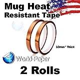 Kapton Tape 10mm 100ft 2 Rolls, For Mug Sublimation or Electric Work