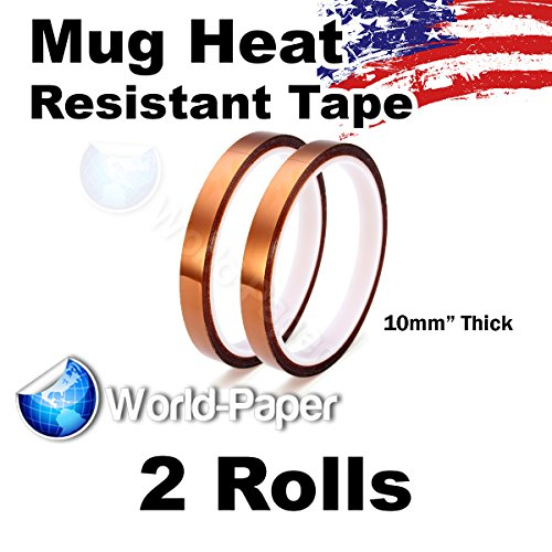 Kapton Tape 10mm 100ft 2 Rolls, For Mug Sublimation or Electric Work by world-paper