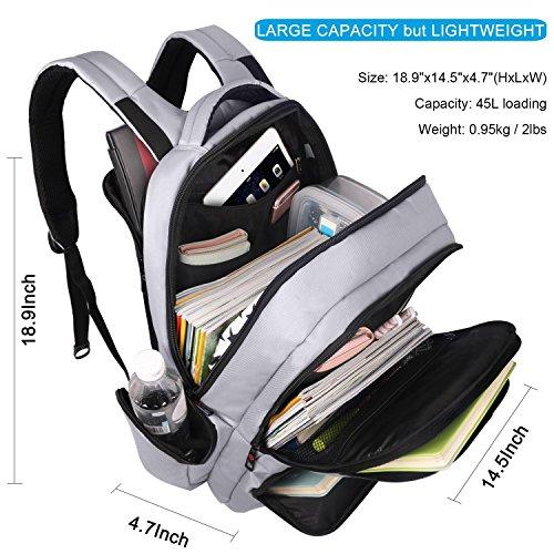 BigForest Multifunction Business laptop Rucksack Backpacks Water Resistant Travel Bag fits up to 15.6 Inch computer backpack Schulerucksack Grey YHOTRM