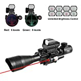 Pinty Premium 3-in-1 combo 4-12x50EG Rangefinder Mil Dot Tactical Reticle Riflescope Sniper with Laser Sight and Red Dot Sight Perfect for Hunting