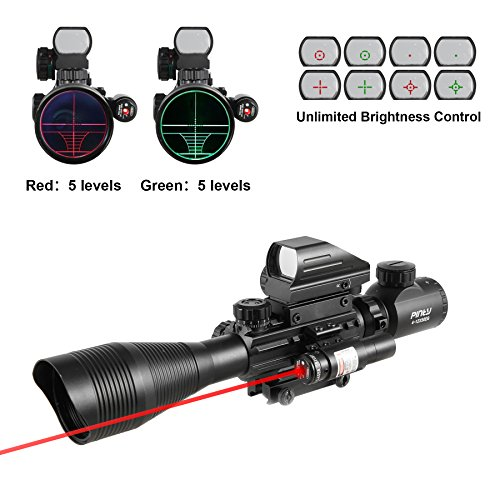 Pinty Rifle Scope 4-12x50EG Rangefinder Mil Dot Tactical Reticle Scope with Laser Sight and Red Dot Sight (Best Scope For Ar 15 100 Yards)