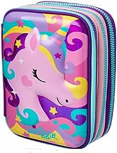 Estuche para lápices Smiggle Maxi de Maxmilli Gift Collection con tapa dura y triple, color Pink y Purple Unicorn & Milkshake: Amazon.es: Oficina y papelería