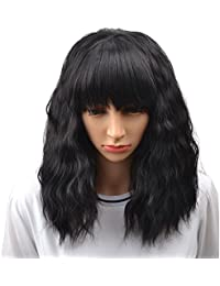 "14"" Women's Short Curly Bobo Wig with Free Wig Cap (Black)"