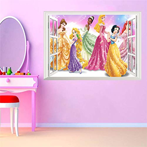 3D False Window Princess Wall Stickers for Kids Rooms Home Decoration DIY Adesivo de Parede Bedroom Mural Girl's Gift Poster ()