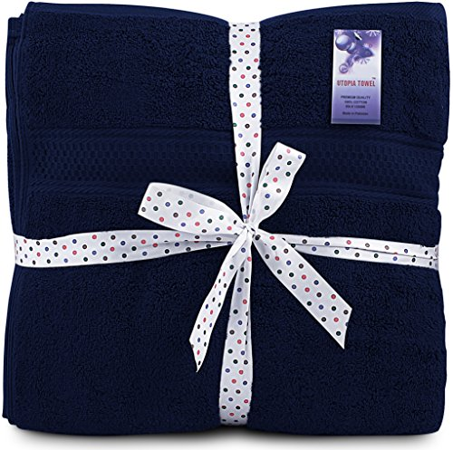 Utopia Towels 700 GSM Cotton 27-Inch-by-54-Inch  Bath Towel Set, Set of 4, Navy