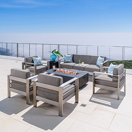 - Crested Bay Patio Furniture ~ 5 Piece Outdoor Patio Chair and Sofa Set with Propane (Gas) Fire Table(Pit) (Dark Grey)