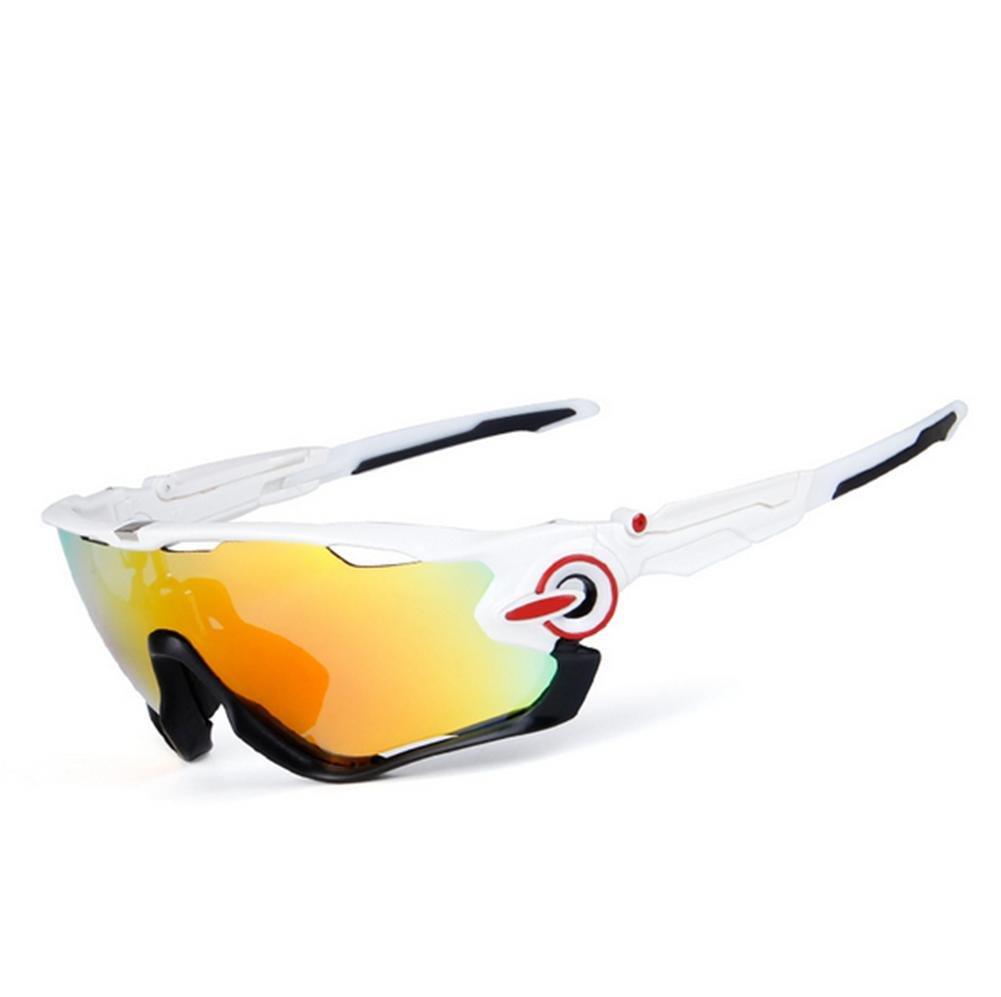 DZW Polarisierte Sonnenbrille draußen Reiten Fahrrad Brille Sportbrillen , Weiß heikuang schwarz + Weiß + ROT studs set foot