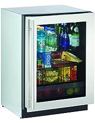 U-Line 24 Stainless Steel Glass Door Compact Refrigerator