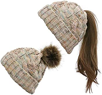 Wumedy Ladies Winter Warm Ponytail Patchwork Knitted Cap