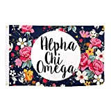 Alpha Chi Omega Floral Pattern Sorority Flag Banner Greek Sign Decor AXO Review