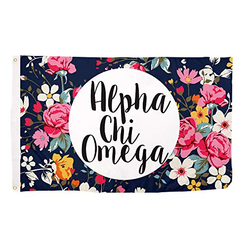 Alpha Chi Omega Floral Pattern Sorority Flag Banner Greek Sign Decor AXO