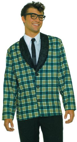 Mens 50s Costumes (Forum Plaid Jacket Costume, Blue, Standard (up to 42))