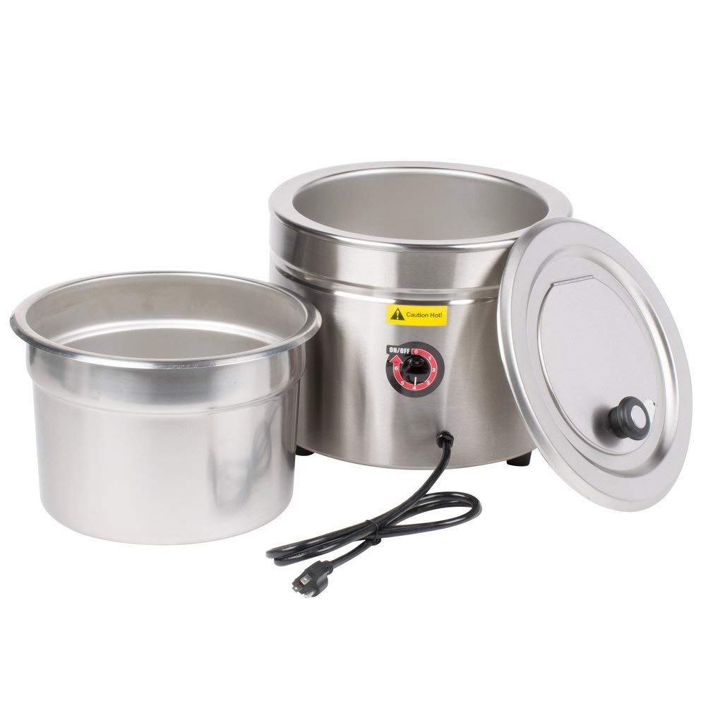 W800 11 Qt. Stainless Steel Countertop Soup Kettle Warmer - 120V, 800W by TableTop King