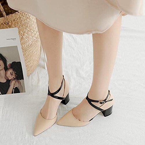 518d22c7 Sandalias CJC mujeres Fornido Tacón Cerrado Dedo del pie (Color : A, Tamaño  :