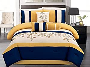 7 Pieces Luxury Navy Blue Yellow Off White Embroidered Comforter Set Bed In A